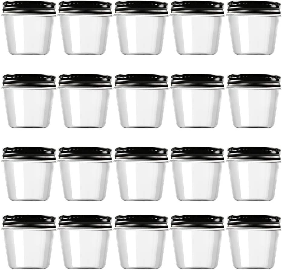 Novelinks 4 Ounce Clear Plastic Jars with Black Lids - Refillable Round Clear Containers Clear Jars Storage Containers for Kitchen & Household Storage - BPA Free (20 Pack)