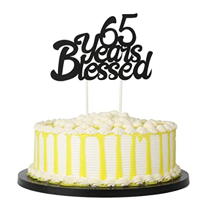 Amazon PALASASA Black Single Sided Glitter 65 Years Blessed