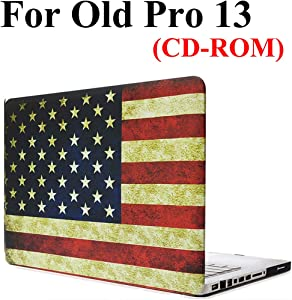 Old MacBook Pro 13 Inch CD ROM & DVD Drive Case A1278, iZi Way Old Glory Patriotic Rubberized Hard Shell Case Cover for Previous MacBook Pro 13 (2012 mid - 2009) - Retro American Flag