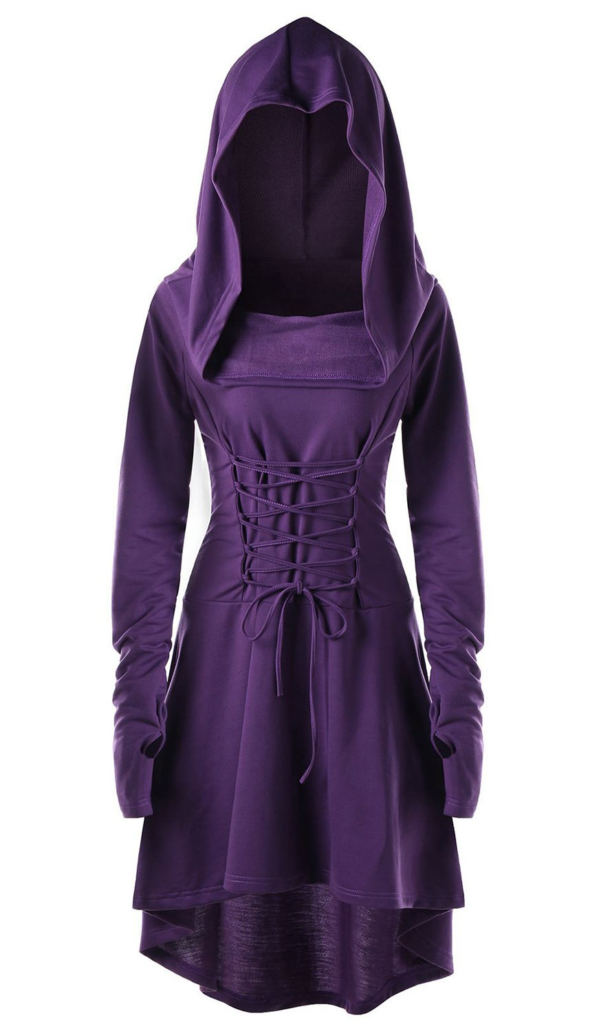 EastLife Womens Hooded Robe Lace up Vintage Pullover High Low Long Hoodie Dress