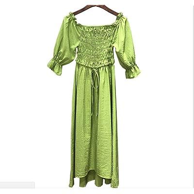 Aguacate Verde Vestido de Verano de Las Mujeres Cuello Cuadrado una Palabra Hombro Cintura Larga Falda 34 Yardas: Ropa y accesorios