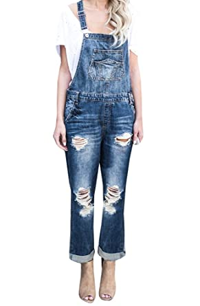 82f6f9f1b0c Bbalizko Womens Denim Ripped Jeans Distressed Straight Romper Jumpsuit  Suspender Pants With Pockets