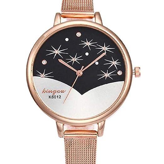 Scpink Relojes de Cuarzo de Las Mujeres, Liquidación Relojes Femeninos a la Venta Patrón de Estrella Relojes de señora Relojes de Acero Inoxidable (Oro ...