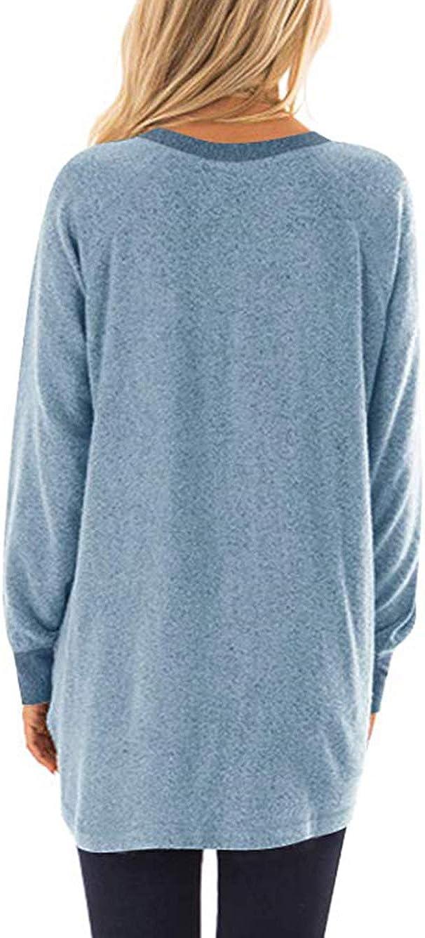iChunhua T-Shirt /à Manches Longues et col Rond pour Femme avec Poches
