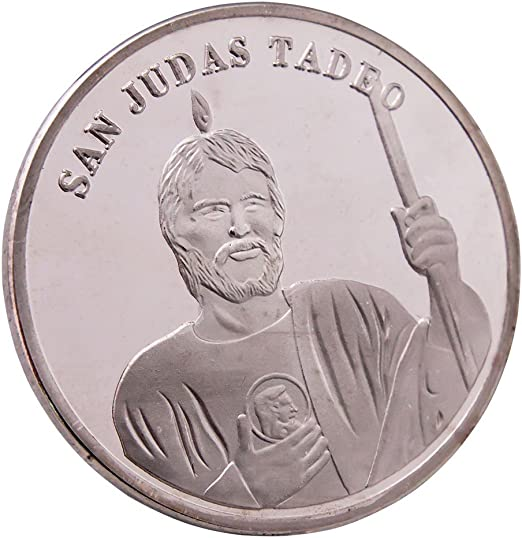 Amazon Com Religiosa Challenge Coin San Judas Tadeo Color Plata Challenge Monedas Insignia Home Kitchen