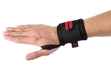 Muñequera proteccion para mujeres y hombres deportiva ajustable prevención de lesiones negro y rojo