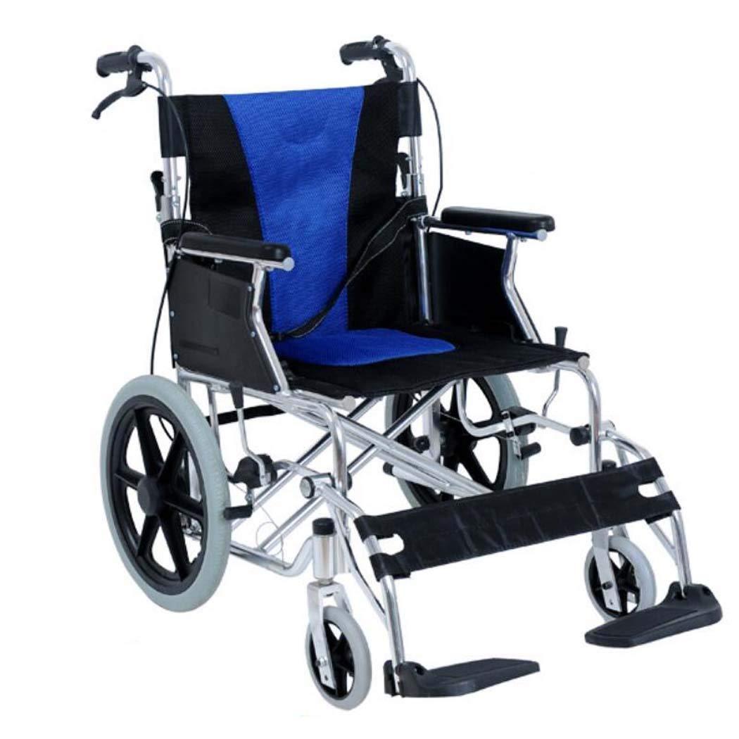 【在庫限り】 HSBAIS Seat メディカルマニュアルトランスポート車いす軽量折りたたみ、アルミニウム合金頑丈でエレベーテッドなレッグは余分な快適性のために置かれています,blue_18