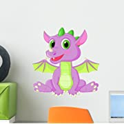 Wallmonkeys Cute Baby Dragon Cartoon Wall Decal by Peel and Stick Graphic (12 in H x 12 in W) WM212692