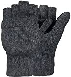 Korlon Winter Wool Knitted Convertible Fingerless Gloves with Mitten Cover Dark Gray One Size