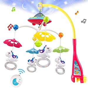 Baby Musical Crib Mobile, Baby Mobile Motor with Projector Music Box Merry Go Round Pendant for Newborn and Baby Boy Girl 2 4 6 8 10 Months or Older