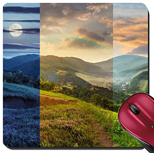 Hillside Village (Liili Suqare Mousepad 8x8 Inch Mouse Pads/Mat day and night composite mountain landscape flowers on hillside meadow near village in foggy mountain IMAGE ID 35112066)