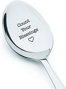 Count Your Blessings Unique Gift Engraved Coffee Spoon For Healthy Living And Recovery Thanksgiving Table Décor Holiday Gifts Housewarming Gift Coffee Lover Gift Idea