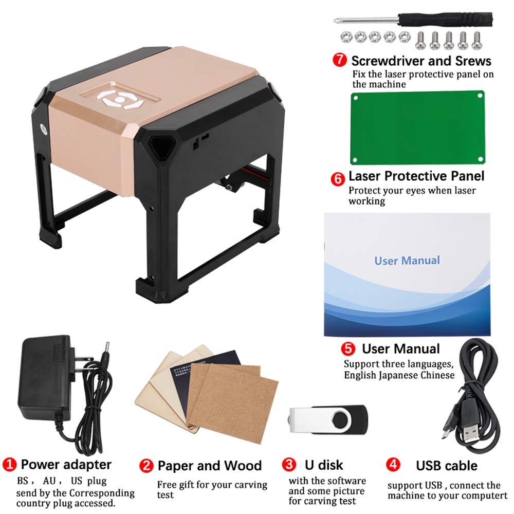 Crafts Man 3000mW Mini Laser Engraving Machine Desktop High Speed USB CNC Laser Printer Engraver for DIY Carving Handicraft Wood Engraver Working Area 8 X 8CM 3000mw