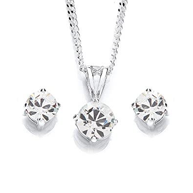MiChic Jewellery Swarovski Crystal Pendant on 46 cm Silver Chain and Earring Set T4CIv