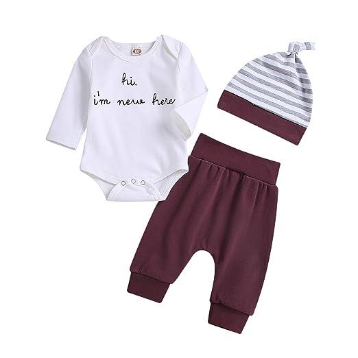 5f761092e52 Amazon.com: Unisex Baby Outfit Clothes Infant Girl Boy Long Sleeve Cotton  White Romper Bodysuit Harem Pants Stripes Hat 3PCS Outfit Set: Clothing