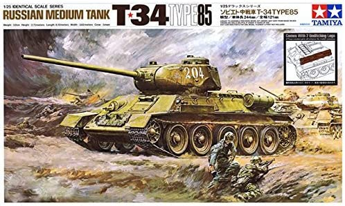 #89569 Tamiya Russian Medium Tank T34 Type 85 1/25 Scale Plastic Model Kit,Needs Assembly