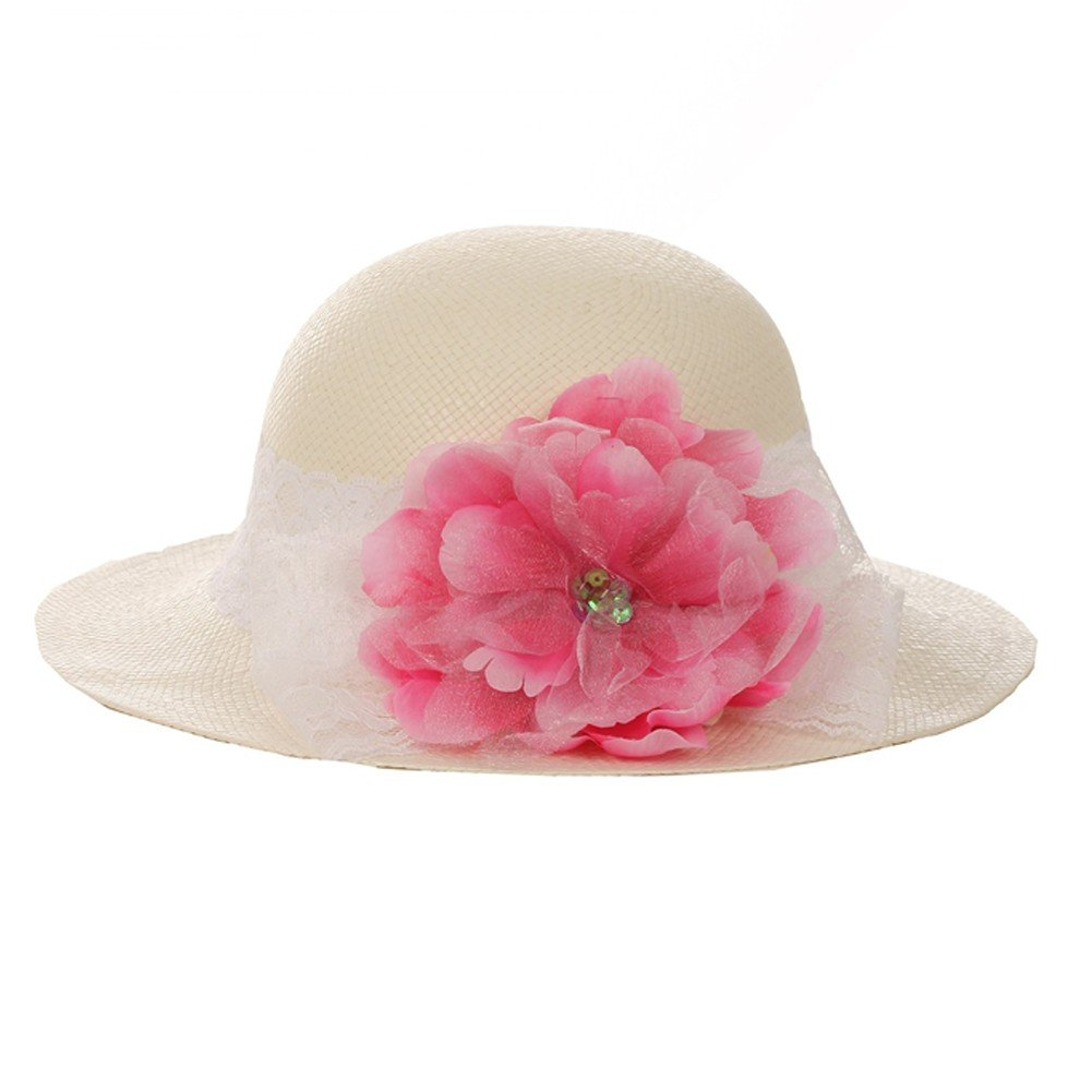 Kid's Dream Girls Straw Fuchsia Detachable Flower Lace Adorned Summer Hat 21''