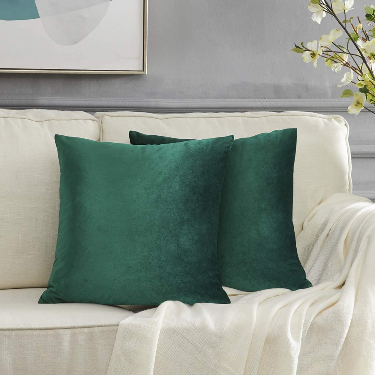 GIGIZAZA Decorative Throw Pillow Covers 20 x 20, Olive Green Soft Pillow Covers Velvet,Christmas Decor Square Cushion Covers