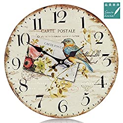 12 Retro Vintage Blue Bird Garden French Country Tuscan Style Non-Ticking Silent Wooden Wall Clock Art Decoration