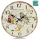12'' Retro Vintage Blue Bird Garden French Country Tuscan Style Non-Ticking Silent Wooden Wall Clock Art Decoration