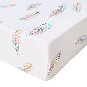 LifeTree Soft Fitted Crib Sheet - Feather Print Premium Cotton Unisex Toddler Bed Sheets for Baby Girls or Baby Boys - Fits Standard Crib Mattress
