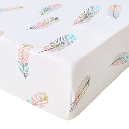 "Premium Fitted Cotton Crib Sheet - Gender Neutral ""Feather Print"" Cotton Toddler Sheet ,Fits Standard Mattress for Baby Girl or Baby Boy By Life Tree"