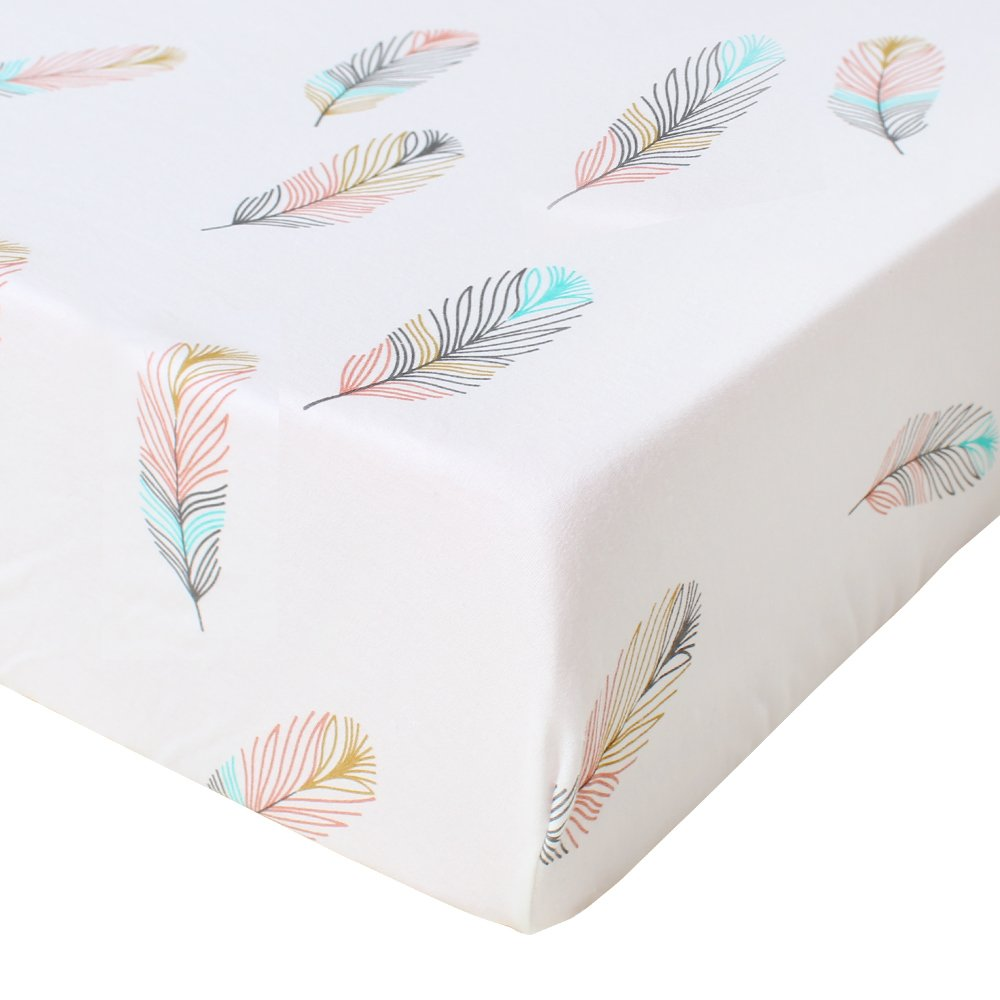 LifeTree Premium Fitted Cotton Crib Sheet - Feather Print Cotton Toddler Sheet for Baby Girl or Baby Boy - Fits Standard Crib Mattress