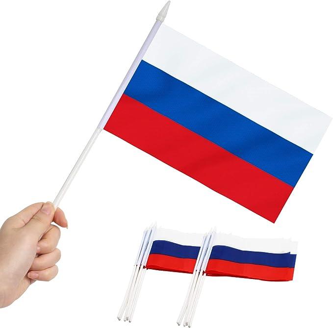 Anley Bandera de Palo de Rusia, Bandera Rusa de 5x8 Pulgadas (12 x 20 cm) con Mini asta de 12