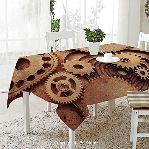 Mechanical Copper Clock (BeeMeng Large Family Picnic Tablecloth,Easy to Carry Outdoors,Industrial Decor,Inside The Clocks Theme Gears Mechanical Copper Device Steampunk Style Print,Cinnamon,59 x 104 inches)