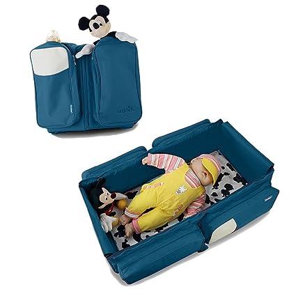Borsa da viaggio per neonati 3 in 1, con funzione di borsa per cambio pannolini, culla portatile da viaggio e fasciatoio, adatta per neonati