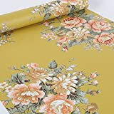 floral shelf liner adhesive - SimpleLife4U Vintage Peony Floral Contact Paper Dark Yellow Peel & Stick Shelf Liner Dresser Drawer Sticker 17.7 Inch By 9.8 Feet
