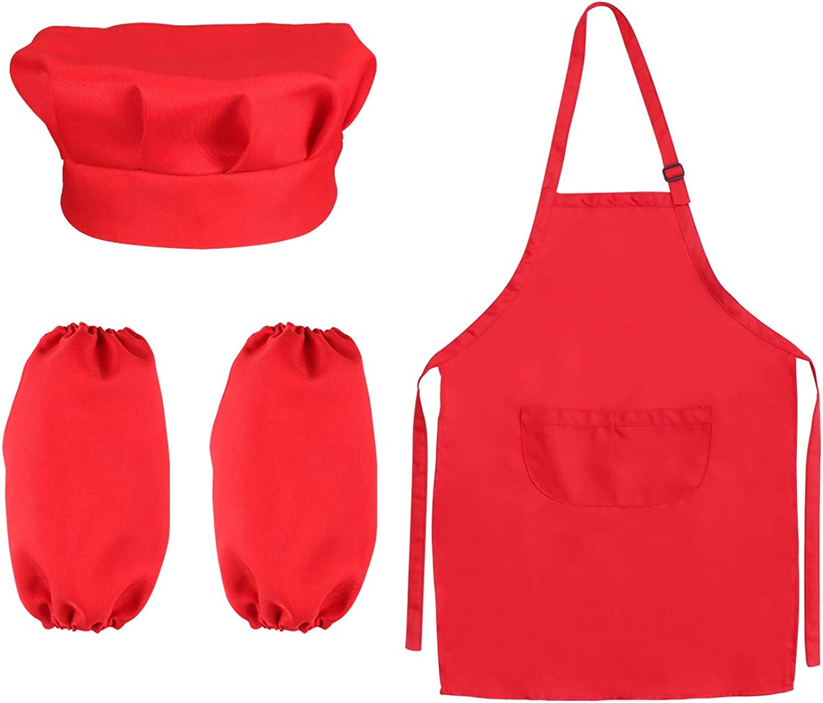 11pcs pacchetto Chef Set per i bambini Cucina Giochi di Ruolo Cook costume con il grembiule da cuoco cappello utensili da cucina Mitt colore rosa