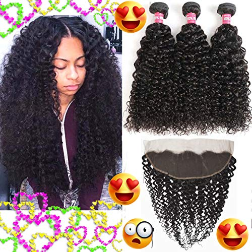 WENYU Brazilian Kinkly Curly Human Hair 3 Bundles with Frontal Closure 13X4 Ear To Ear Lace Frontal with Bundles Kinky Curly Weave Human Hair Weave Natural Black (Kinky Curly 10 12 14 W 10 Frontal) (Best Kinky Curly Weave)