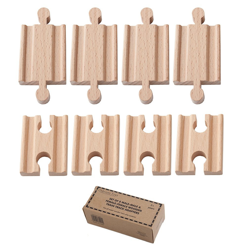 Orbrium Toys Male-Male Female-Female Wooden Train Track Adapters Fits Thomas Brio Chuggington, Pack of 8 Z-xchange LLC ORB-EXP-T-300