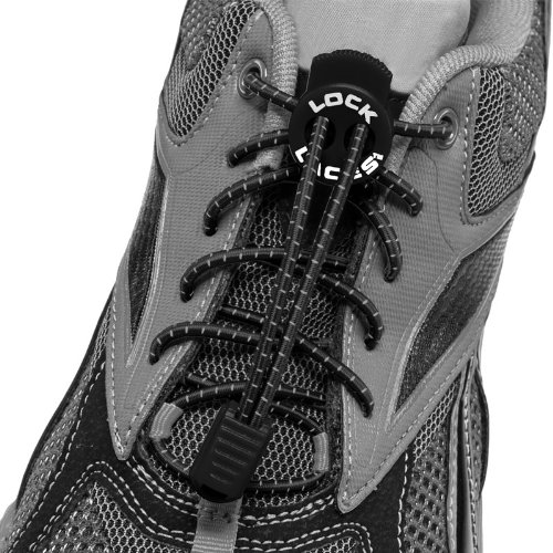 LOCK LACES (Elastic Shoelace and Fastening System) (Black)