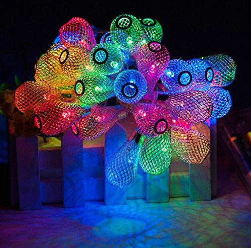 Metal Mesh Lantern - Led Lantern Battery String Light,30 LED 9ft Drop Water Metal Mesh Hanging Starry Lights, Indoor and Outdoor Decorative Lighting For Bedroom, Patio, Garden, Yard, Parties, Wedding, Xmas, Multi Color