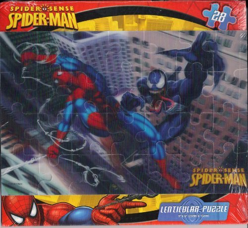 Spider Man Fighting Venom Lenticular 3-D Puzzle 28 Piece by Cardinal Industries