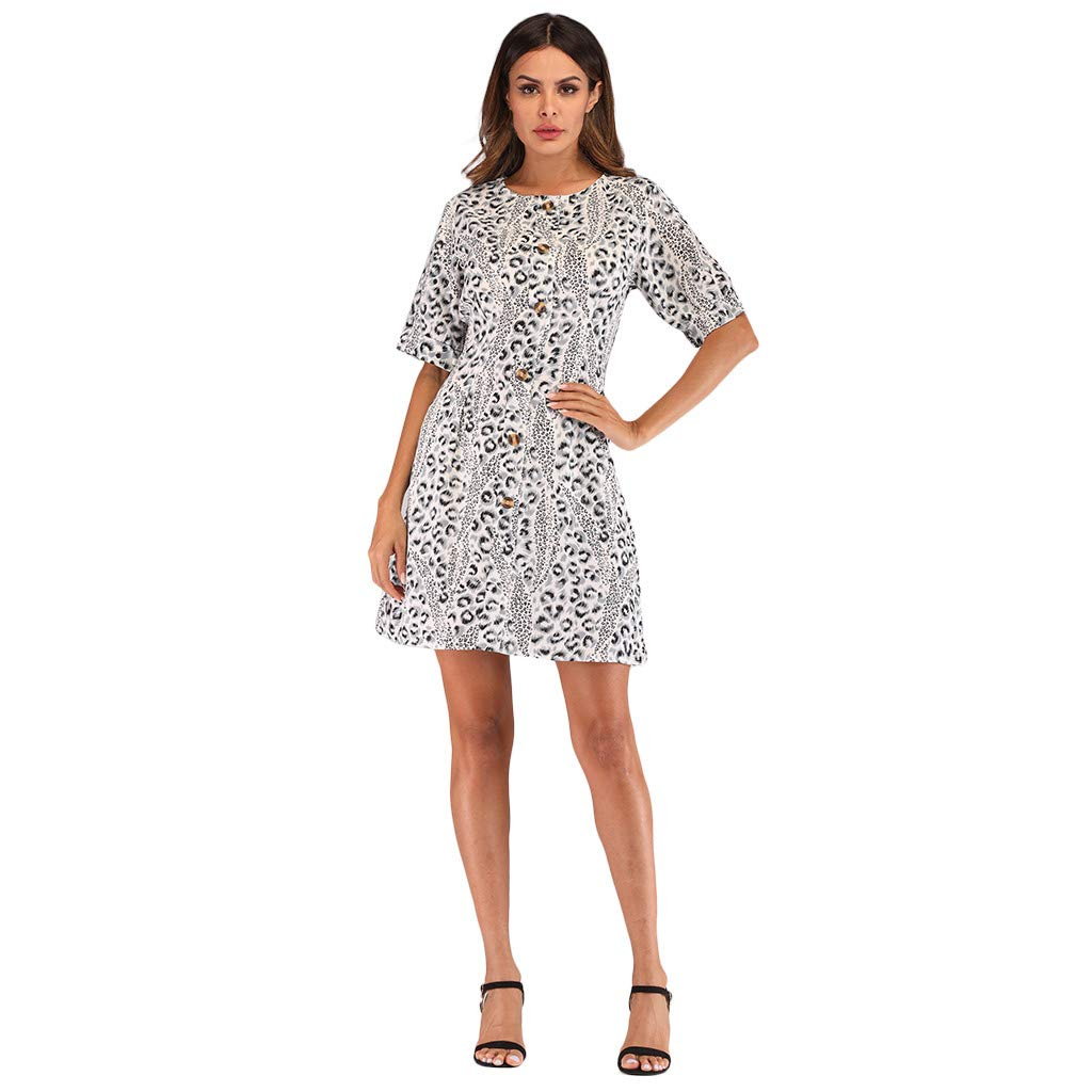 0f71fde61686 Amazon.com: Kalinyer Women Short Sleeve Mini Dress, Loose Casual Round Neck Dress  Leopard Printed A Line Swing Dresses: Clothing