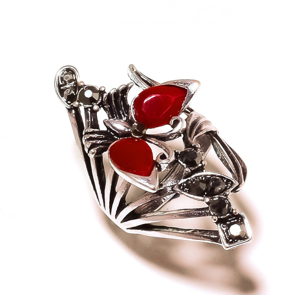 Marks Design Fancy Red Dyed Ruby Sterling Silver Overlay 8 Grams Ring Size 6.5 US