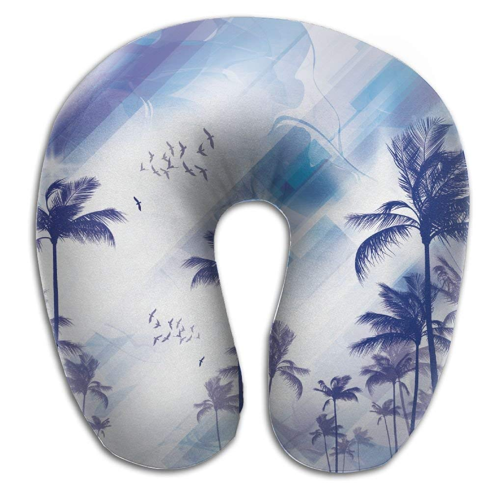 dfegyfr Tropical Palm Tree Sunset Moonlight Memory Foam U-Shaped Pillow,Unique Travel Rest Pillow for Neck Pain,Breathable Soft Comfortable Adjustable