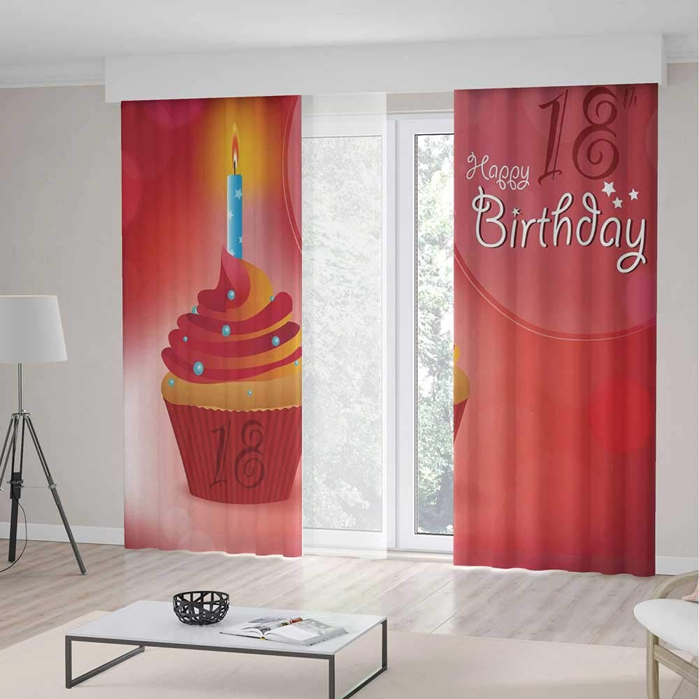 Bedroom Curtains Blackout,18th Birthday Decoration for Living Room,Sweet Eighteen Party Birthday Cupcake with Candles,157Wx83L Inches