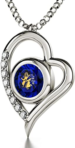 Virgo Sterling Silver Zodiac Pendant Astrology Horoscope jewelry Gold Accented