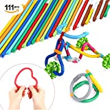 Peradix Soft Building Sticks Toys 111 PCS Kids STEM Learning Educational Building Construction Set for 6 year old, DIY Gift Flexible Sticks Motor Skills Toys with Storage Bag Activity Center Play Game