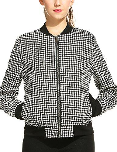 Zeagoo Womens Long Sleeve Plaid Zipper Short Bomber Jacket Coat,Large,Black (Plaid Bomber)