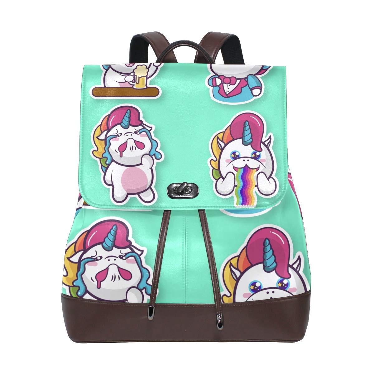 DEZIRO cuoio Unicorn cute Expression School Pack zaino borsa da viaggio