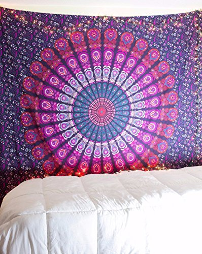 Lal10 Handmade Psychedelic Mandala Hippie Bohemian Tapestry Indian Traditional Throw Beach Throw Wall Art College Dorm Bohemian Wall Hanging-Twin Chak…