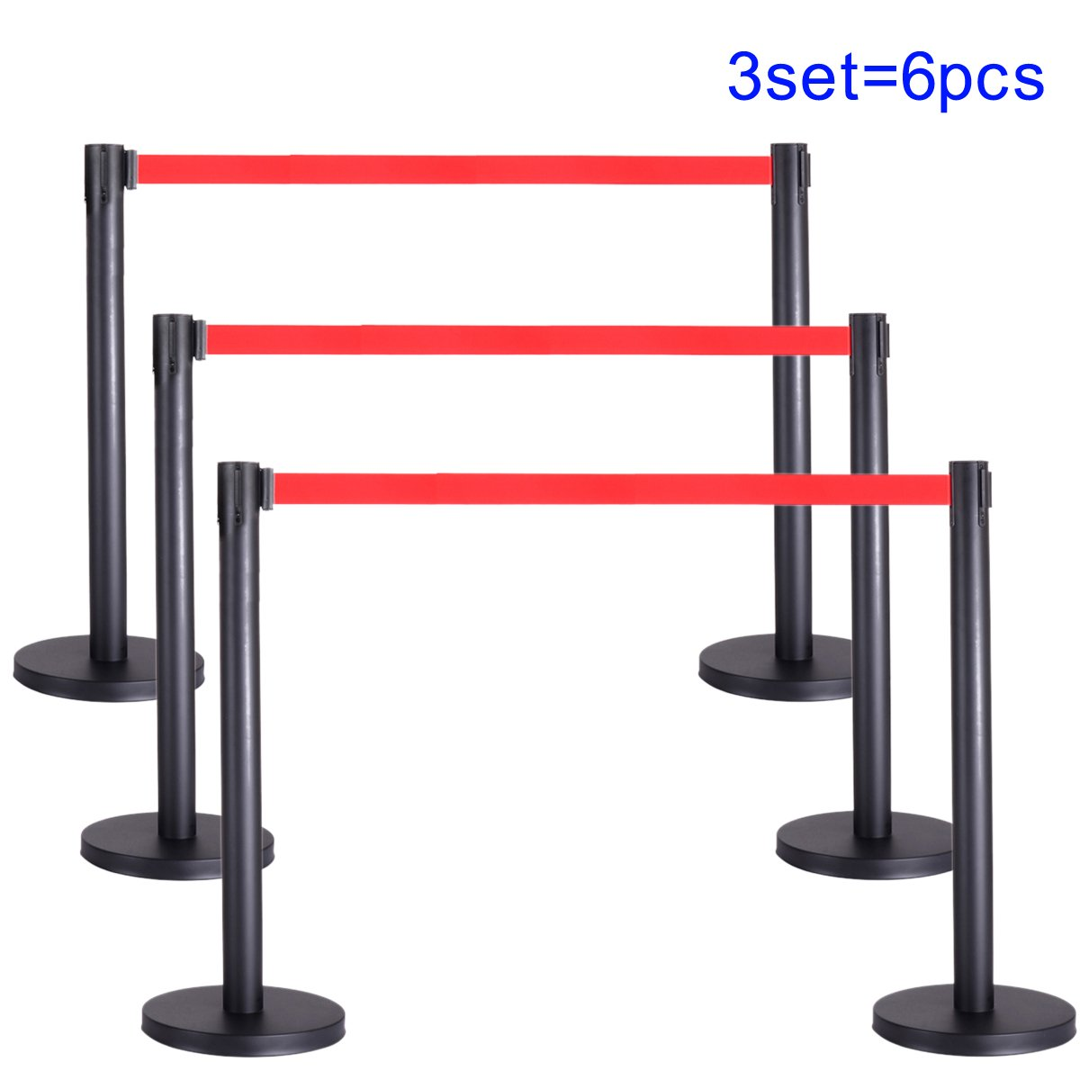 Pack of 6, Crowd Control Stanchion Posts Retractable Rope Barrier Queue Pole Heavy Duty