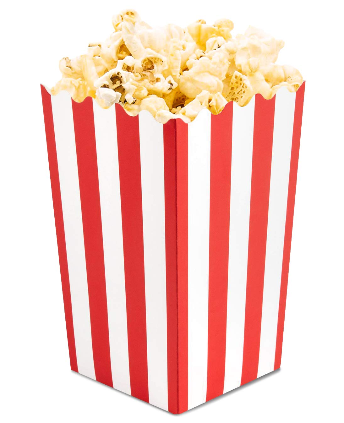 Set of 100 Popcorn Favor Boxes - Mini Paper Popcorn Bags and Snack Containers, Carnival Party Supplies for Movie Night, Movie Theme Party, Red and White, 3.5 x 3.5 x 5.5 Inches by