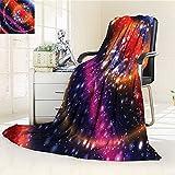 YOYI-HOME Duplex Printed Blanket Warm Microfiber Design Circular Striped Vibrant Galaxy Mystic Sky Solar System Multicolor for Bed or Couch/W31.5'' x H47