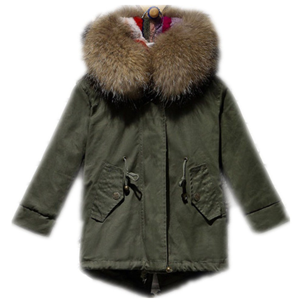 Big Chill Big Girls' Long Expedition Jacket baby real fur coat (3-5 years old, yellow)